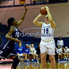 12/9/2017 Mike Orazzi | Staff<br /> CCSU's Emma McCamus (15) and Yale University's Tamara Simpson (23) during women's hoops in New Britain.