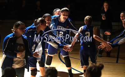 12/14/2017 Mike Orazzi | Staff Bristol Eastern player introductions during Thursday night's girls basketball game with Plainville.