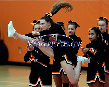 1/10/2018 Mike Orazzi | Staff Terryville High School cheerleaders during Wednesday night's boys basketball game with Achievement First At Terryville High School.