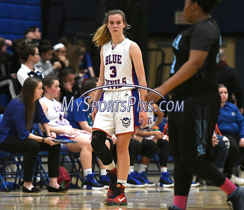 12/28/2017 Mike Orazzi   Staff Plainville's Caitlin Barker (3)  during the Rybczyk Memorial Holiday Basketball Tournament at Plainville High School Thursday afternoon.