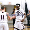 2/6/2018 Mike Orazzi | Staff<br /> Bristol Central's Jaekwon Spencer (25) after he surpassed 1000 points during Tuesday night's boys basketball game with Hall at BC.