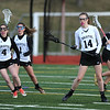 4/11/2018 Mike Orazzi   Staff<br /> Bristol Co-op lacrosse's Erika Santilli (4) and Ashley Watson (14) at Bristol Central Wednesday.