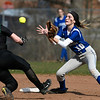 4/13/2018 Mike Orazzi | Staff<br /> Bristol Eastern's Jordan Fitzsimons (10) and Enfield's Taylor Fritz (10) during Friday's softball with Enfield in Bristol.