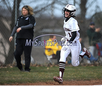 4/11/2018 Mike Orazzi | Staff Bristol Central's Kayla Beaulieu (14) after her second home run Wednesday.