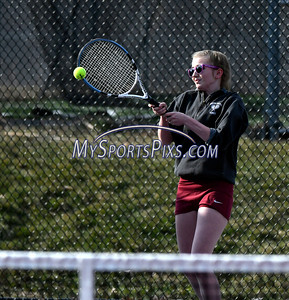 4/12/2018 Mike Orazzi   Staff Bristol Central's Michelle Helming during Thursday's tennis match.