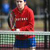 4/18/2018 Mike Orazzi | Staff<br /> St. Paul's Alexis Carabetta in a doubles match during Wednesday's tennis match with Watertown in Page Park.
