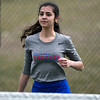 4/18/2018 Mike Orazzi | Staff<br /> St. Paul's Violet Rodriguez in a doubles match during Wednesday's tennis match with Watertown in Page Park.