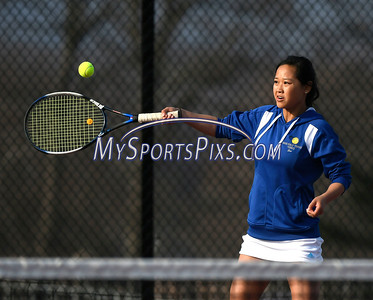 4/12/2018 Mike Orazzi   Staff Bristol Eastern's Tina Guo during Thursday's tennis match.