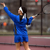 4/18/2018 Mike Orazzi | Staff<br /> St. Paul's Ximena Varela-Marin during Wednesday's tennis match with Watertown in Page Park.
