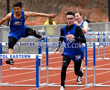 4/17/2018 Mike Orazzi | Staff Bristol Eastern's Drew Dauphinee on his way to first place in the 100 meter at Bristol Eastern Tuesday.
