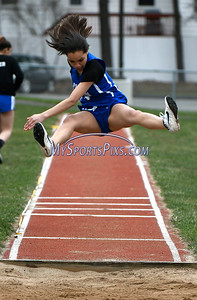4/17/2018 Mike Orazzi | Staff Bristol Eastern's Jennica Valdes in the long jump at Bristol Eastern Tuesday.