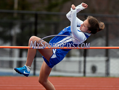 4/17/2018 Mike Orazzi | Staff Plainville's Olympia Bielawski high jump at Bristol Eastern Tuesday.