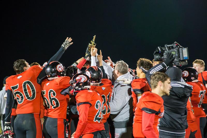The Eagles hoist the Region Championship Trophy