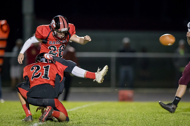 Colby Price kicks an extra point