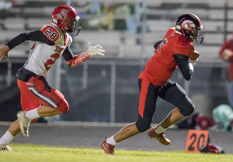 Tyce McNair takes off after making a catch