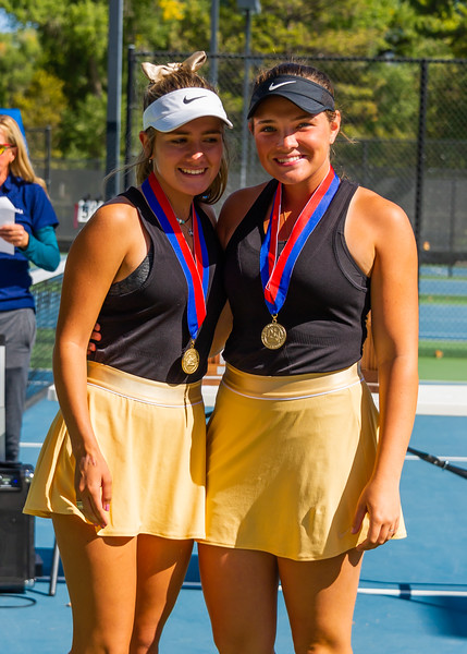 2019-10-05 Region 9 Girls Tennis Players at State Tournament_0302 - DH 1st Doubles - Faith Hess & Cassidy Kohler - 1st Place