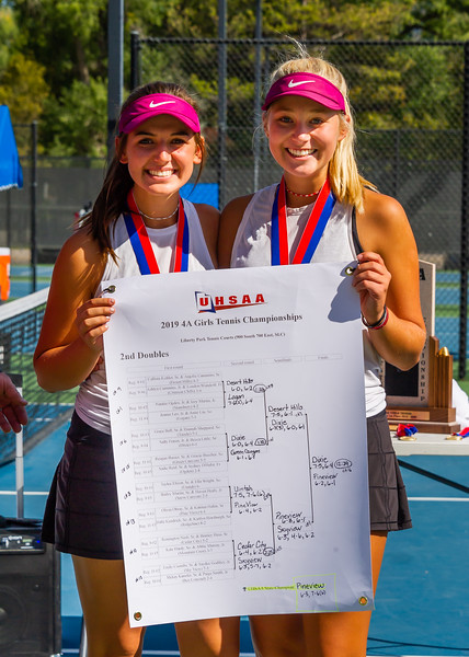 2019-10-05 Region 9 Girls Tennis Players at State Tournament_0295 - PV 2nd Doubles - Olivia Obray & Katrina Hafen - 1st Place
