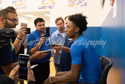 Ashton Hagans of Kentucky talks with media on Tuesday during Media Day in Lexington.  MARTY CONLEY/ FOR THE DAILY INDEPENDENT