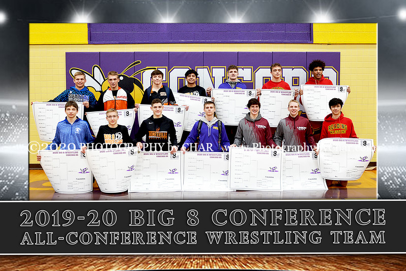 2019-20 Big 8 All Conference Team 12x18 vert
