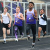 4-2-19<br /> Northwestern-Western track and field<br /> NW's Tayson Parker in the 100 m dash.<br /> Kelly Lafferty Gerber | Kokomo Tribune