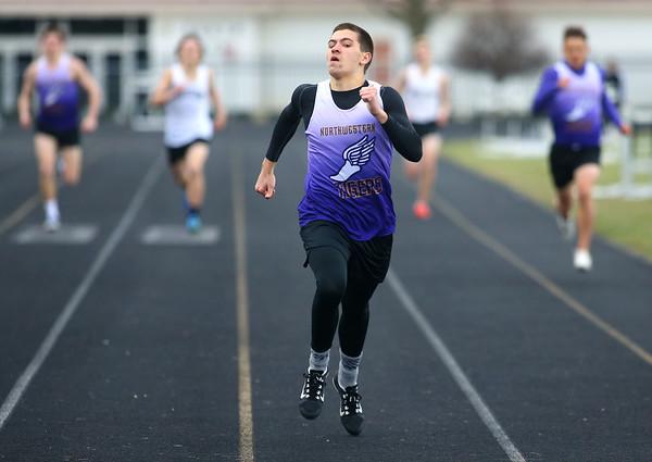 4-2-19<br /> Northwestern-Western track and field<br /> NW's Gus Bourff in the 400 m dash.<br /> Kelly Lafferty Gerber | Kokomo Tribune