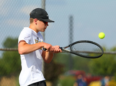 8-22-19 Northwestern vs Eastern boys tennis Eastern 3 singles Nolan Lapp. Kelly Lafferty Gerber | Kokomo Tribune