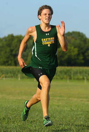 8-21-19 Northwestern Cross Country meet Eastern's Brayden Richmond finished first in the boys 1-2 race. Kelly Lafferty Gerber | Kokomo Tribune