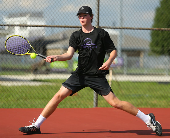 8-22-19 Northwestern vs Eastern boys tennis Northwestern 1 singles Cole Wise. Kelly Lafferty Gerber | Kokomo Tribune