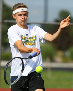 8-22-19 Northwestern vs Eastern boys tennis Eastern 2 singles Lukas Darling. Kelly Lafferty Gerber | Kokomo Tribune