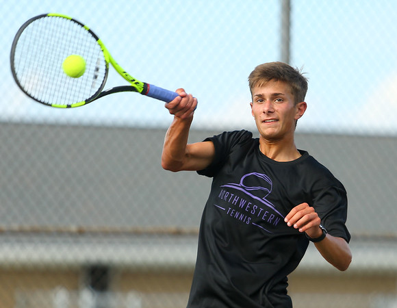 8-22-19 Northwestern vs Eastern boys tennis Northwestern 3 singles Caden Gaier. Kelly Lafferty Gerber | Kokomo Tribune