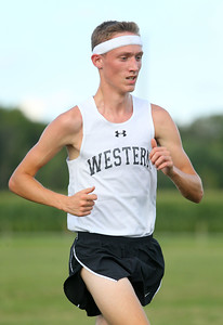 8-21-19 Northwestern Cross Country meet Western's Brayden Curnutt finished first in the boys 3-4 race. Kelly Lafferty Gerber | Kokomo Tribune