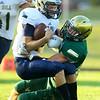 8-23-19<br /> Eastern vs Oak Hill football<br /> Eastern's Tallan Morrisett takes down Oak Hill's Clay McCorkle.<br /> Kelly Lafferty Gerber | Kokomo Tribune