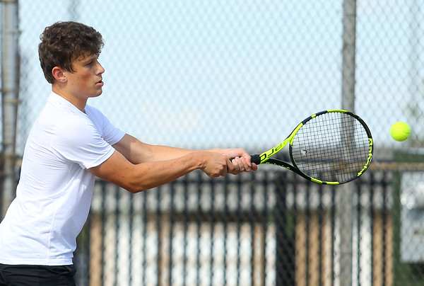 8-22-19 Northwestern vs Eastern boys tennis Eastern 1 singles Matt Harrison. Kelly Lafferty Gerber | Kokomo Tribune