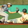 8-1-19<br /> Jackrabbits vs Spiders<br /> Andrew Labosky is safe at second base before Spiders' #5 makes the tag.<br /> Kelly Lafferty Gerber | Kokomo Tribune