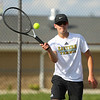 8-22-19<br /> Northwestern vs Eastern boys tennis<br /> Eastern 3 singles Nolan Lapp.<br /> Kelly Lafferty Gerber | Kokomo Tribune