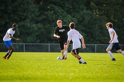 Pre-season varsity soccer between Bishop Brady HS (white) and Derryfield (black) held on August 27, 2019 at the The Derryfield School in Manchester, NH.