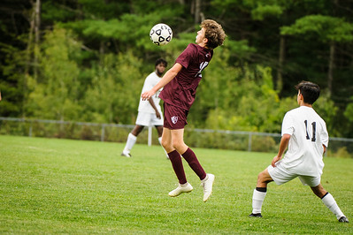 Varsity soccer between Hopkinton HS (white) and Derryfield (maroon) held on September 6, 2019 at the The Derryfield School in Manchester, NH.