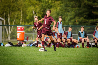 Varsity soccer between Laconia HS (white) and Derryfield (maroon) held on September 12, 2019 at the The Derryfield School in Manchester, NH.