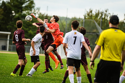 Varsity soccer between Campbell HS (white) and Derryfield (maroon) held on September 17, 2019 at the The Derryfield School in Manchester, NH.