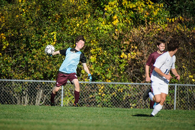 Varsity soccer between St. Thomas Aquinas HS (white) and Derryfield (maroon) held on September 27, 2019 at the The Derryfield School in Manchester, NH.