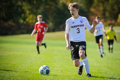 Varsity soccer between Hillsboro-Deering HS (red) and Derryfield (white) held on October 5, 2019 at the Hillsboro-Deering High School in Hillsboro, NH.