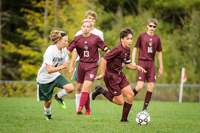 Varsity soccer between Raymond HS (white) and Derryfield (maroon) held on October 8, 2019 at the The Derryfield School in Manchester, NH.