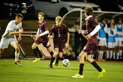 Varsity soccer between Prospect Mountain HS (white) and Derryfield (maroon) held on October 15, 2019 at the The Derryfield School in Manchester, NH.