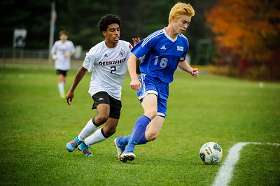 Varsity soccer between Gilford HS (blue) and Derryfield (white) held on October 30, 2019 at the Gilford High School in Gilford, NH.
