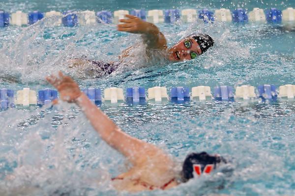 Northwestern's Ann Bourff swimming the 200 free relay during the swim meet between Kokomo HS and Northwestern HS on Monday December 16, 2019. <br /> Tim Bath | Kokomo Tribune