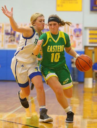 12-13-19<br /> Tri Central vs Eastern girls basketball<br /> Eastern's McKenzie Cooper takes the ball down the court.<br /> Kelly Lafferty Gerber | Kokomo Tribune