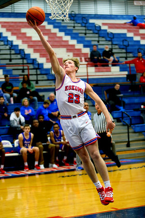 Jackson Richards making 2 points during a fast break in 1st quarter during Saturday afternoon action between the Kokomo Wildcats and South Bend Adams Eagles on December 28, 2019.<br /> Tim Bath | Kokomo Tribune