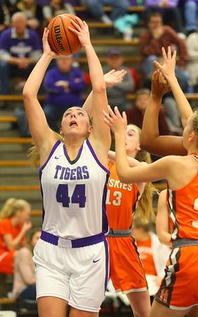 12-10-19<br /> Northwestern vs Hamilton Heights girls basketball<br /> Kendall Bostic pulls down a rebound.<br /> Kelly Lafferty Gerber   Kokomo Tribune