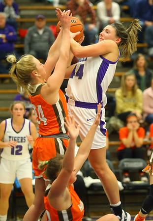 12-10-19<br /> Northwestern vs Hamilton Heights girls basketball<br /> Kendall Bostic is fouled as she goes up for a shot.<br /> Kelly Lafferty Gerber   Kokomo Tribune