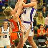 12-10-19<br /> Northwestern vs Hamilton Heights girls basketball<br /> Kendall Bostic is fouled as she goes up for a shot.<br /> Kelly Lafferty Gerber | Kokomo Tribune